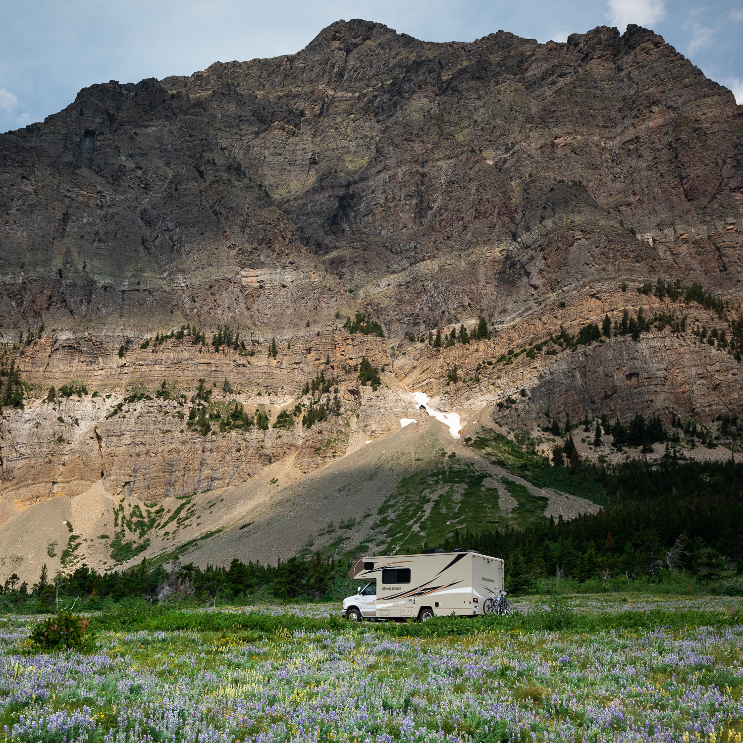 An RV on its way to Many Glacier region of Glacier National Park.