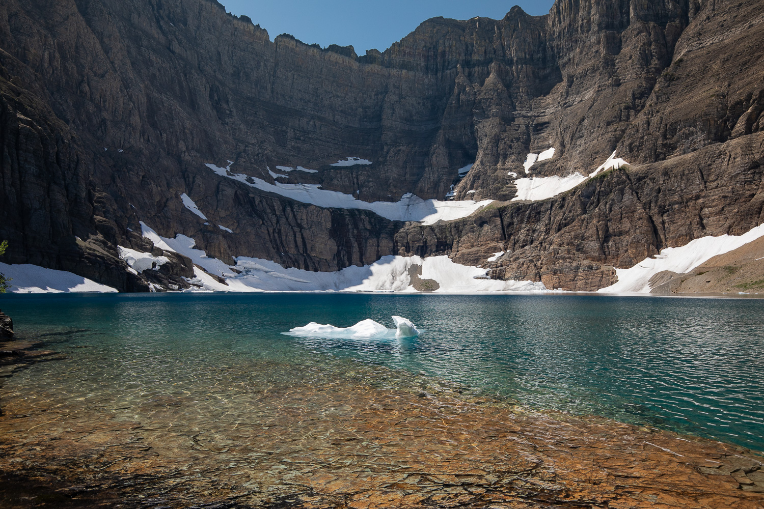 An iceberg floating in Iceberg Lake.