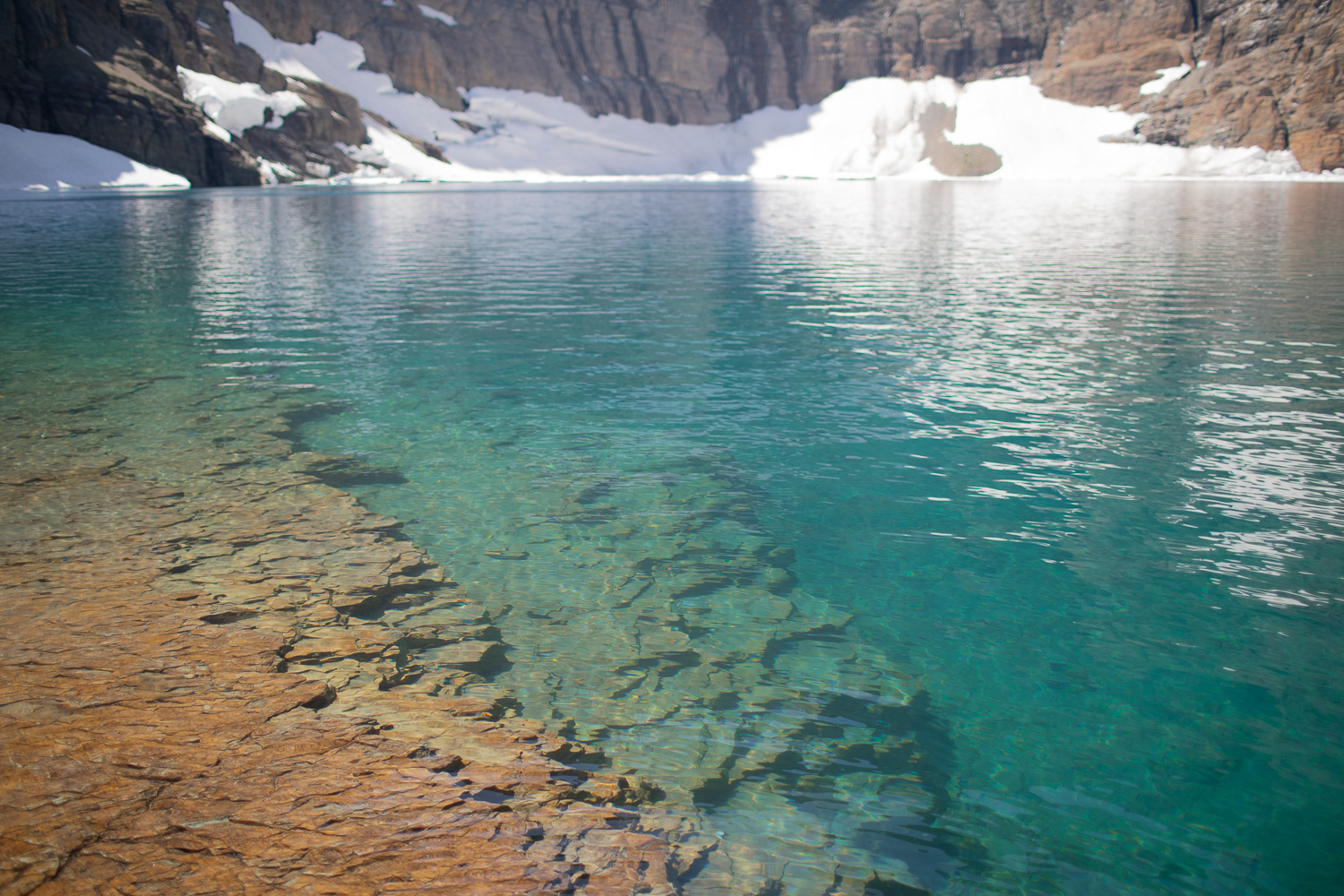 Detail of the rock formations in Iceberg Lake.