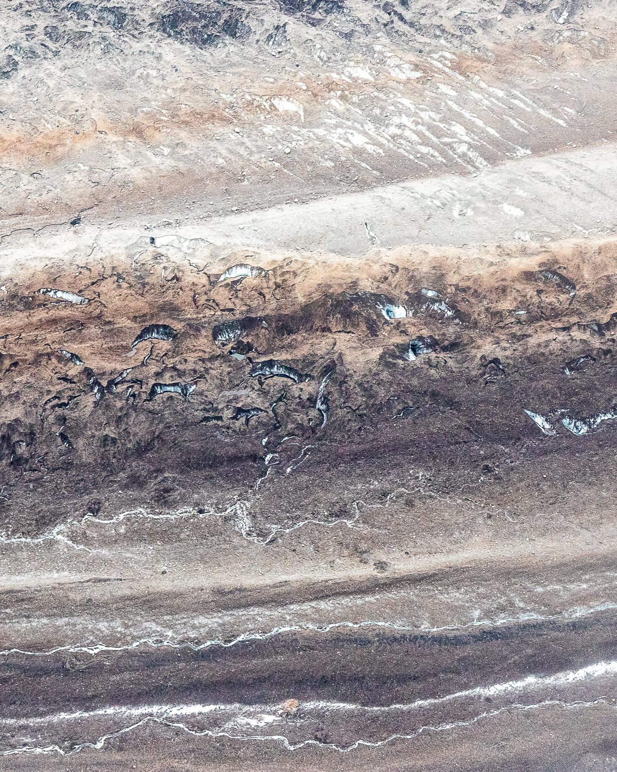 A zoom-in of the photo above, showing some detail of the ice and glacial moraine.