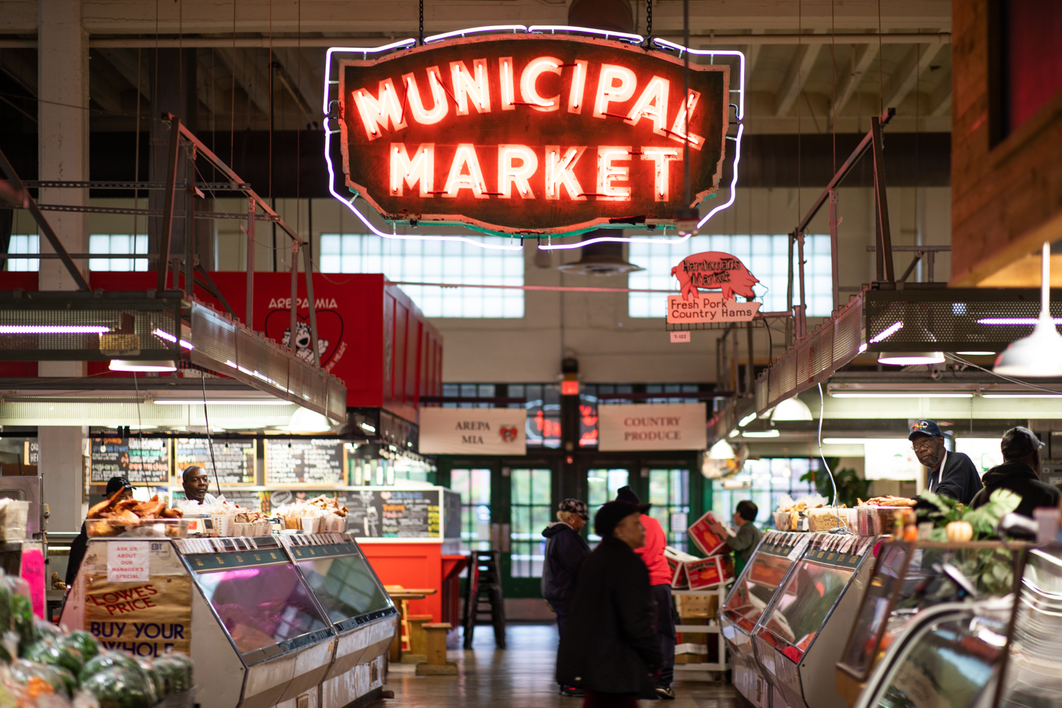 Interior of Sweet Auburn (Municipal) Market. The Market has a few names, the reason for which is  explained  in the podcast episode.