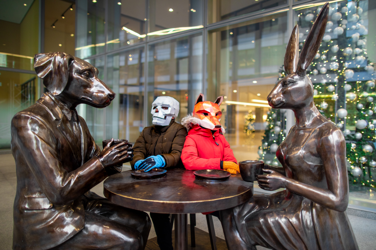 Posing in front of Gillie and Marc's Rabbitwoman and Dogman art installation in New York City.
