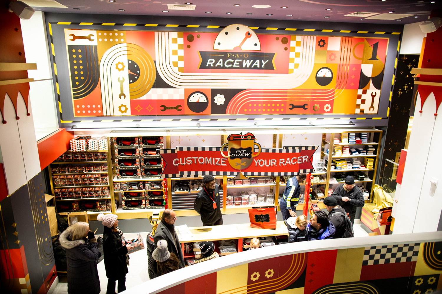 The racing station at FAO Schwarz. Customize your racer!