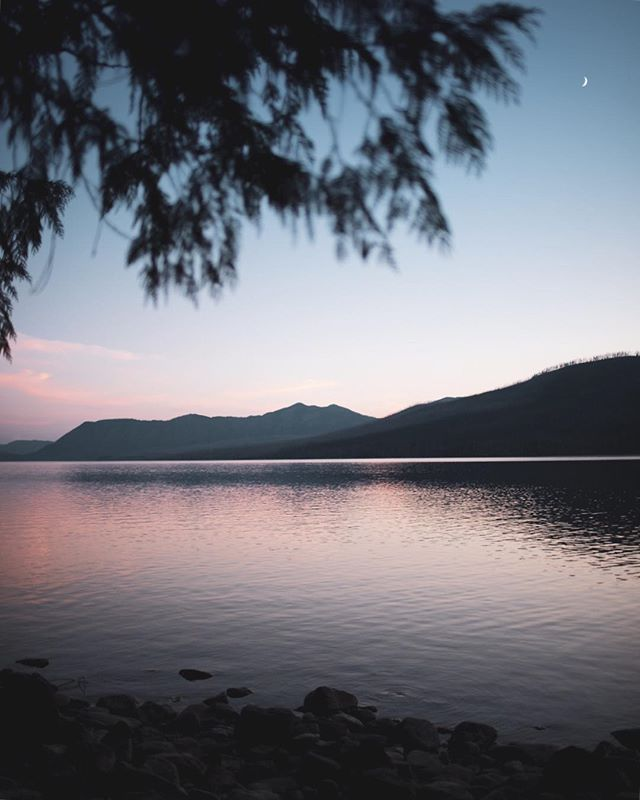 A peaceful moment at Lake McDonald in Glacier National Park. 🌙