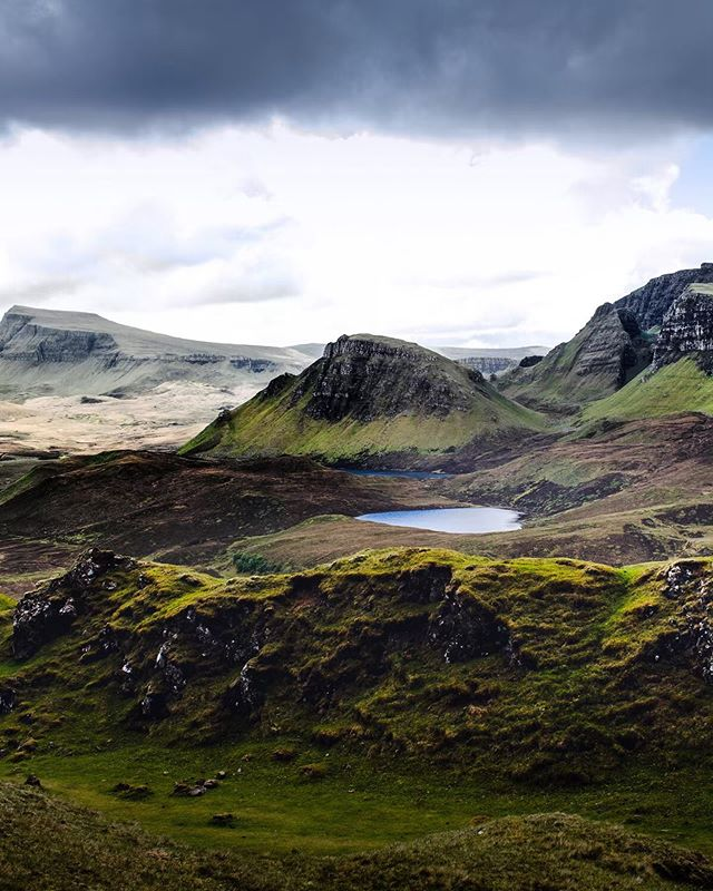 """It's true—it has been several months since I posted on this account... ⠀ I have just returned from an incredible trip to Scotland, where I roamed the highlands around the Isle of Skye. ⠀  This trip was a photography workshop organized by three wonderful photographers: @mydetoxtravel, @charlottelittlewolf, and @elizabethgadd (please check out their work by visiting their profiles). Joining along on this trip were eight other photographers representing the United States, Canada, and Australia. ⠀ I'll be posting between ten and fourteen images from this trip in the coming days/weeks, ranging from landscapes to wildlife to (perhaps, as a branching-out) portraiture. ⠀  As for this particular image: it was captured on a hike around an area in the Isle of Skye known as the Quiraing. Quiraing comes from Old Norse """"Kví Rand,"""" which means """"Round Fold"""". There were plenty of folds and bends and valleys and little lakes to discover on this trail 🙌. ⠀ I will share more about the trip in forthcoming posts!"""