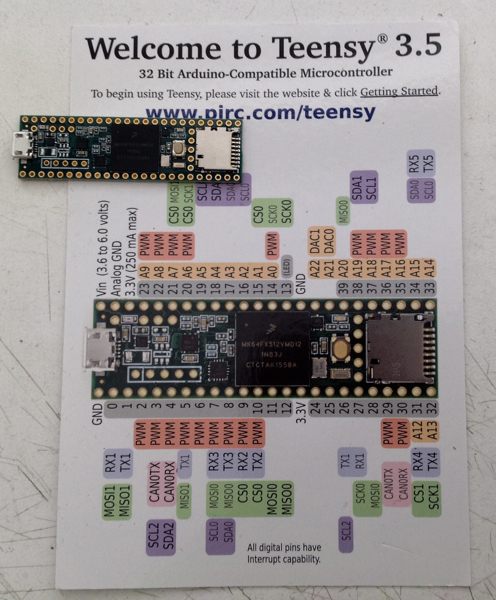 Teensy 3.5 32 bit 120 MHz ARM Cortex-M4 processor with floating point unit.