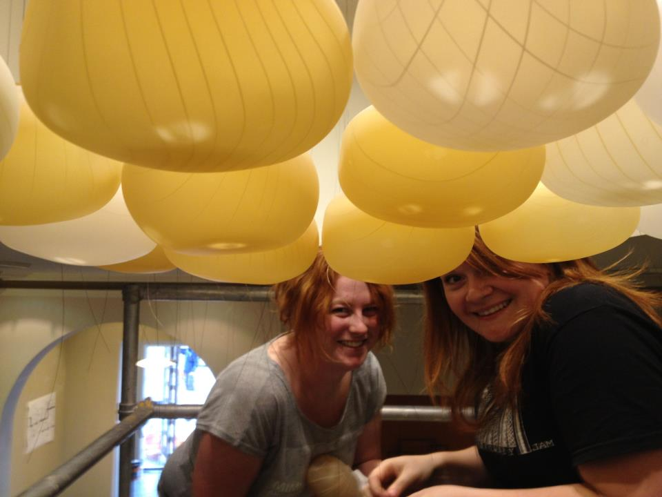 Installing  Cumulus Lucis  with glass artist Madeline Prowd