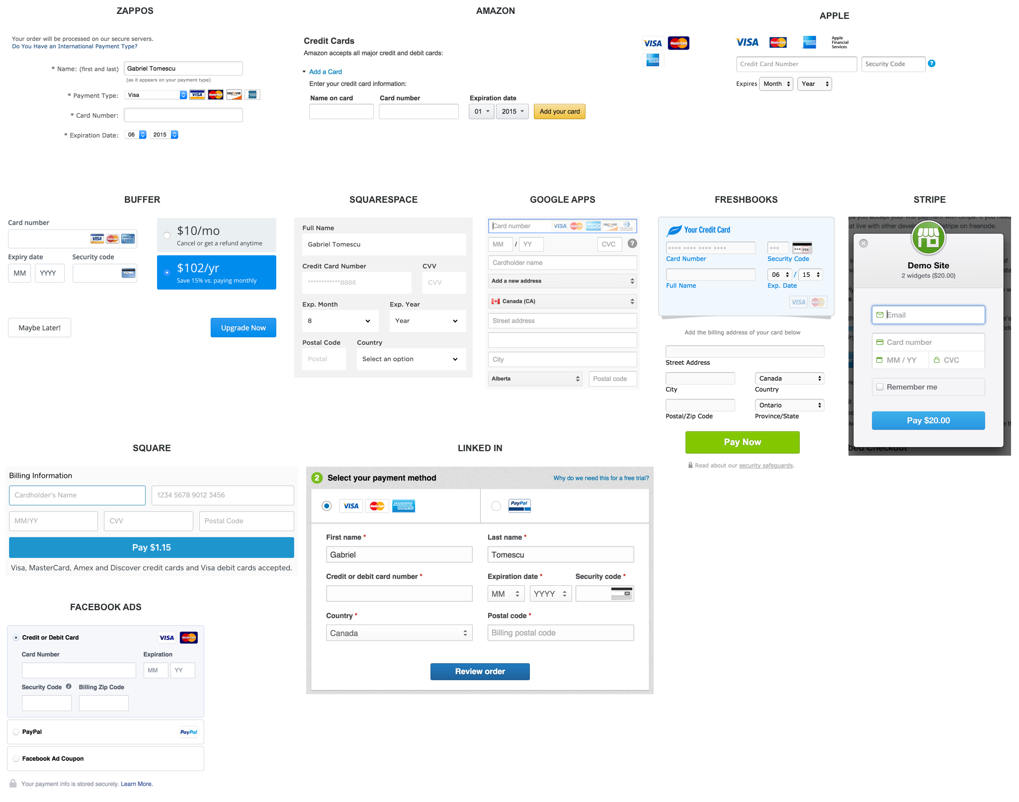 Credit card forms from various popular websites and apps.