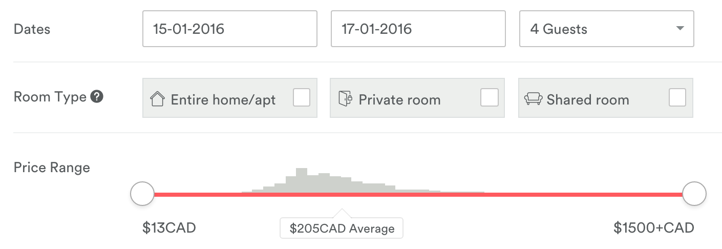 On AirBnb, the price range slider (the trigger) shows a graph of the distribution of prices (the data) for the location you're browsing, helping you make an informed decision.