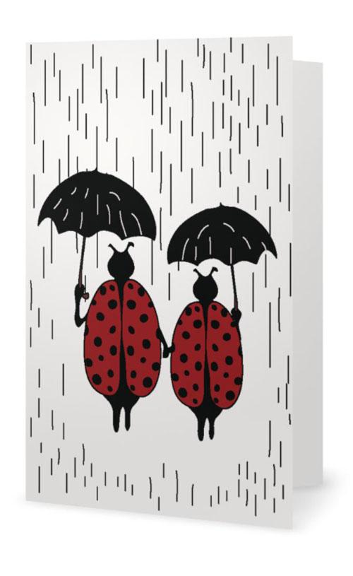 Ladybugs in the Rain Card