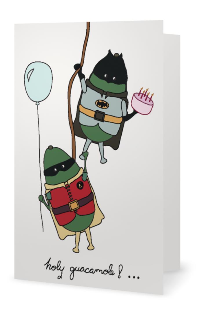 Avocado Batman and Robin Birthday Card