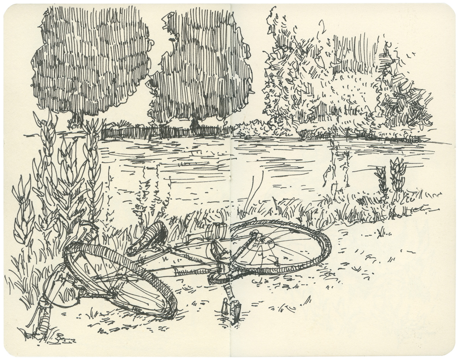 Sketchbook: Rest Stop by the Pond