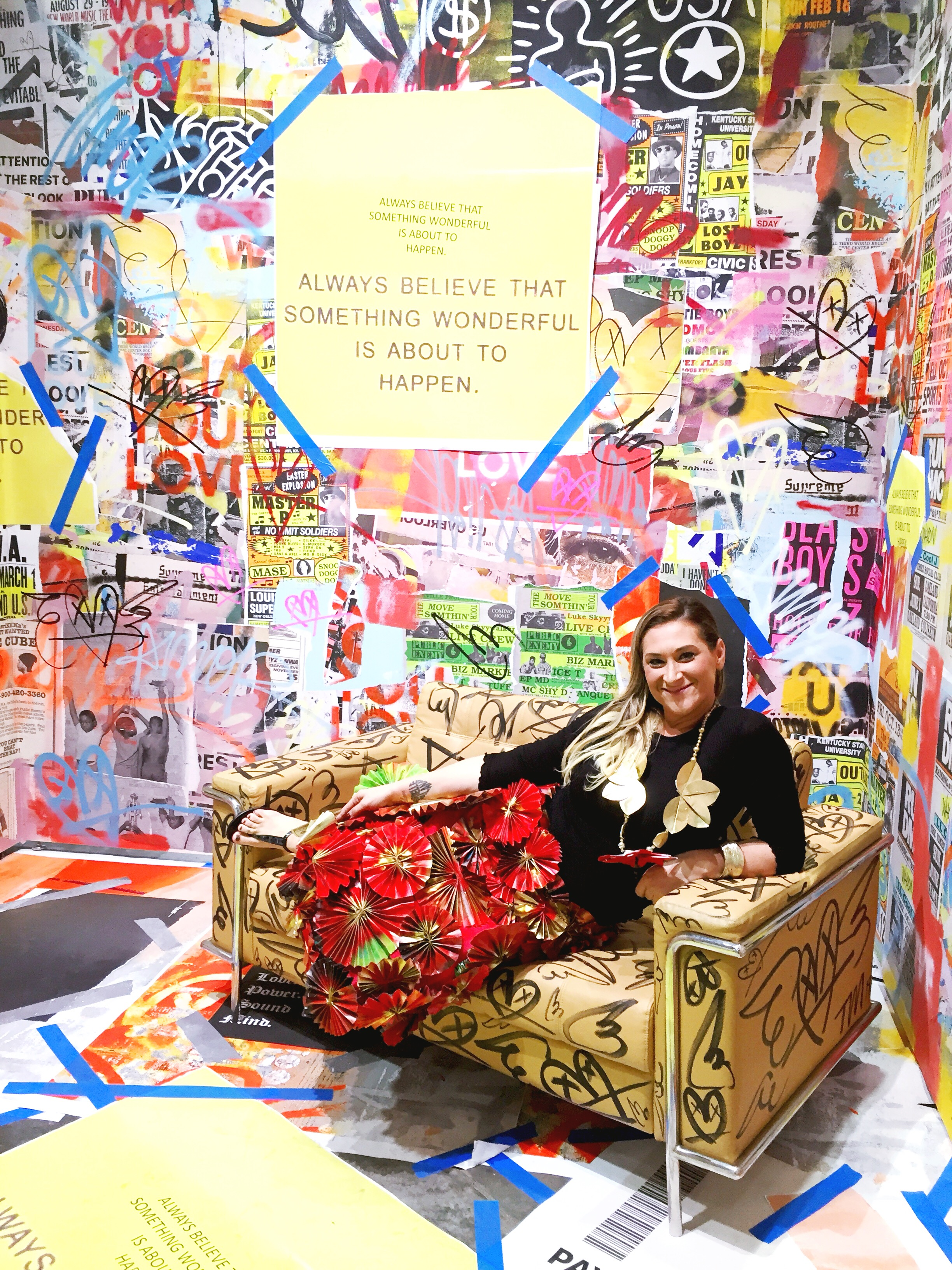 Our model Eleanore makes herself comfortable at the Art Plug booth, https://www.theartplug.net/events/