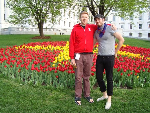 Here's a picture of Bryan and I from 2009 on our very first tour. Yes, we both purposely dressed like that. Still sorta do.