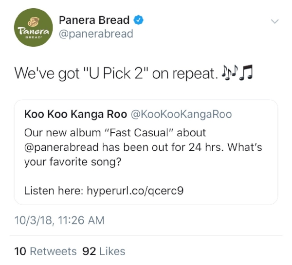 Panera tweeted about the album!