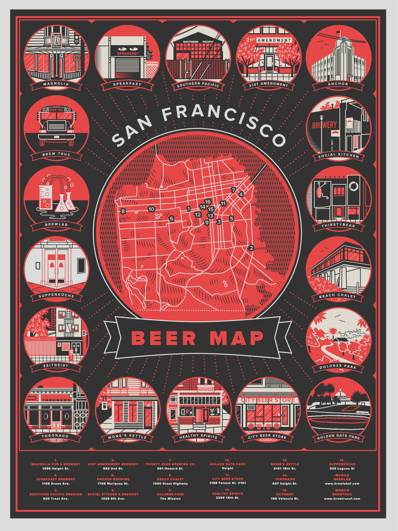 Bold Italic SF Beer Map — Loren Purcell