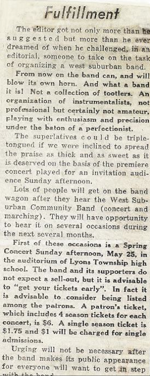 "A follow-up editorial entitled   ""Fulfillment"" appeared in the   Citizen   before the band's   second performance on Sunday, May 25, 1958."