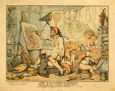 """The chamber of genius"" by Thomas Rowlandson in 1812 from the  Library of Congress ."