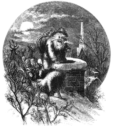 """A Visit From St. Nicholas"" by Thomas Nast published 1864 in  Christmas Poems and Pictures  by J. G. Gregory (Nast's first published Santa)"