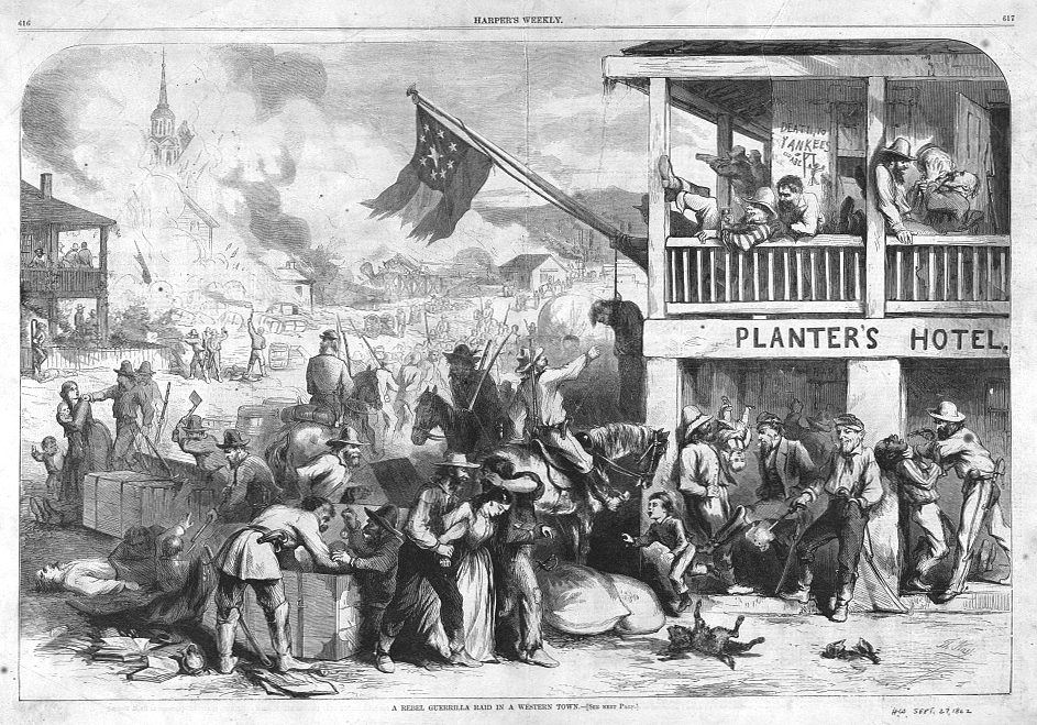 A Rebel guerrilla raid in a western town by Thomas Nast published 1862 - PD Source: Library of Congress
