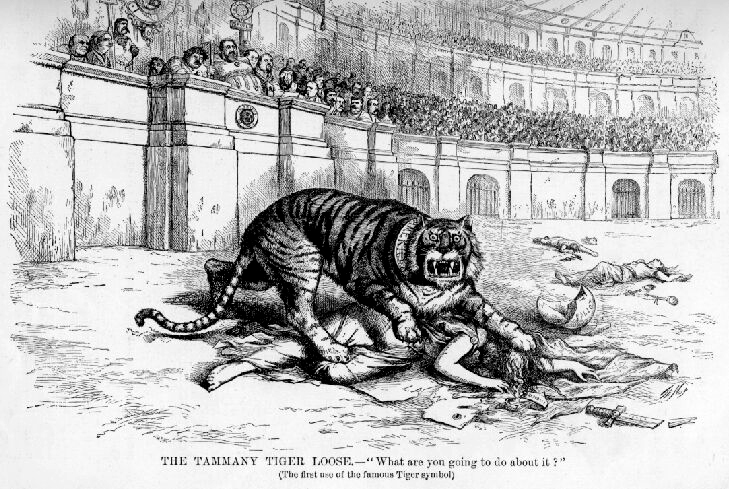 The Tammany Tiger Loose by Thomas Nast  published 1871 - PD Source: Wikimedia Commons