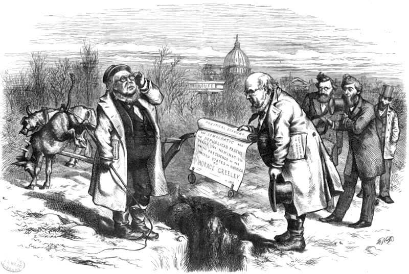 Cincinnatus. - H. G., The Farmer, Receiving The Nomination From H. Q., The Editor by Thomas Nast. Published 1872 - PD Source: Wikimedia Commons