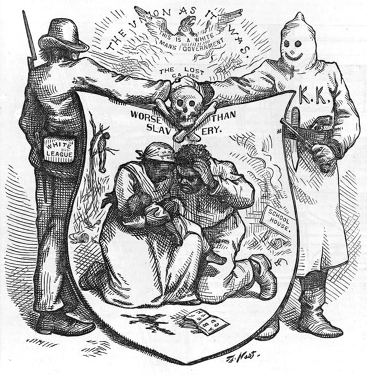 The Union as it was The lost cause, worse than slavery by Thomas Nast. Published 1874 - PD Source: Library of Congress