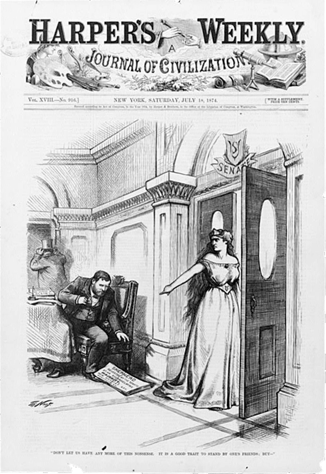 """""""Don't let us have any more of this nonsense. It is a good trait to stand by one's friends; but -"""" by Thomas Nast. Published 1874 - PD Source: Library of Congress"""