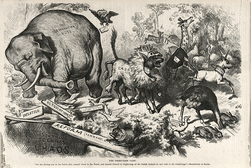 The Third-Term Panic by Thomas Nast. The first use of the Republican Elephant. Published 1874 - PD Source: Library of Congress