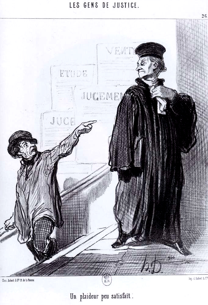 A Disgruntled Litigant by Honoré Daumier published in 1845