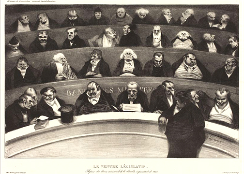 """Le Ventre L'gislatif"" (The Legislative Belly) by Honoré Daumier published in 1834. PD Source: Wikimedia Commons"