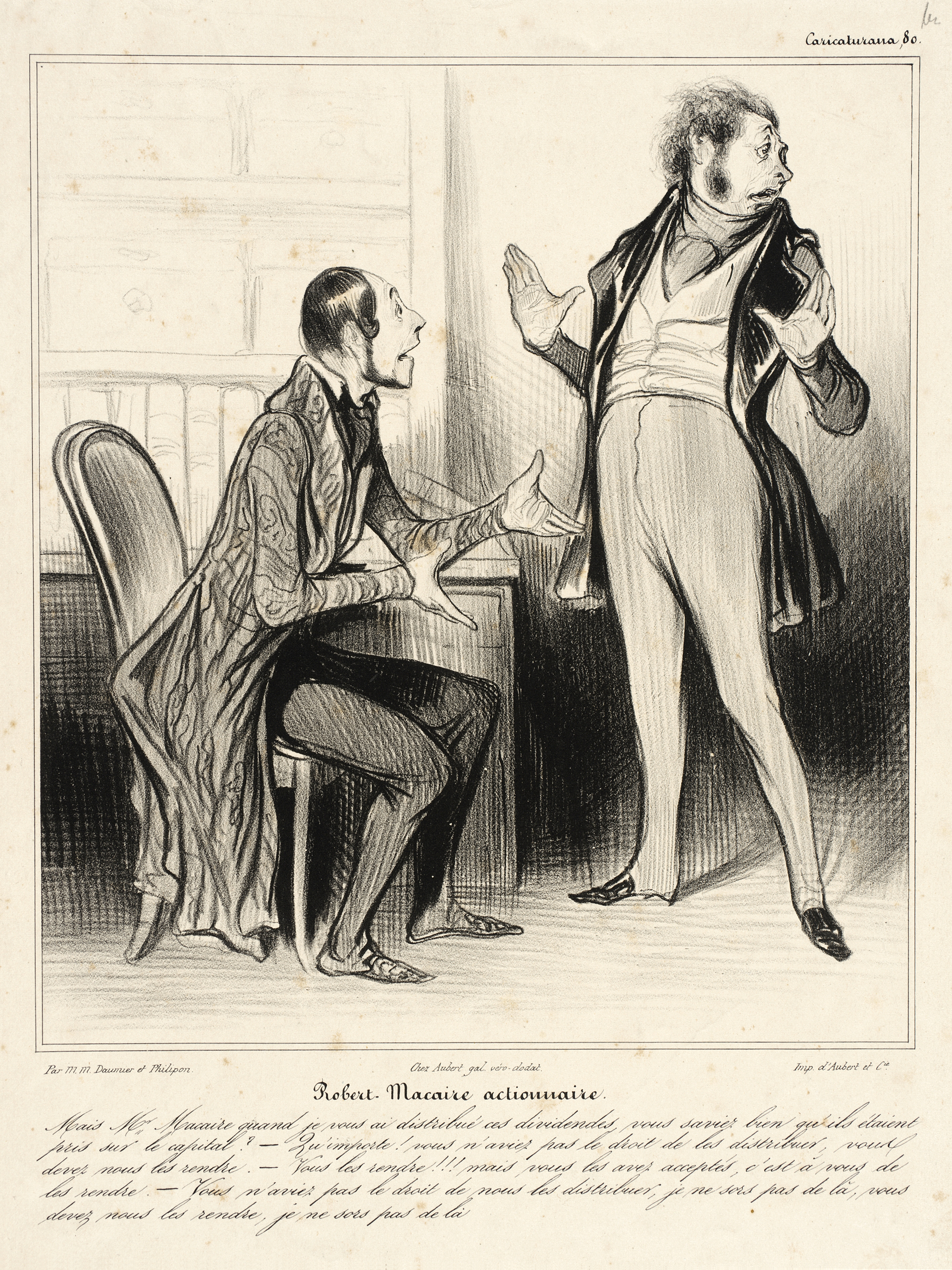 Robert Macaire actionnaire by Honoré Daumier published in  Le Charivari on May 12, 1838. PD Source: Wikimedia Commons