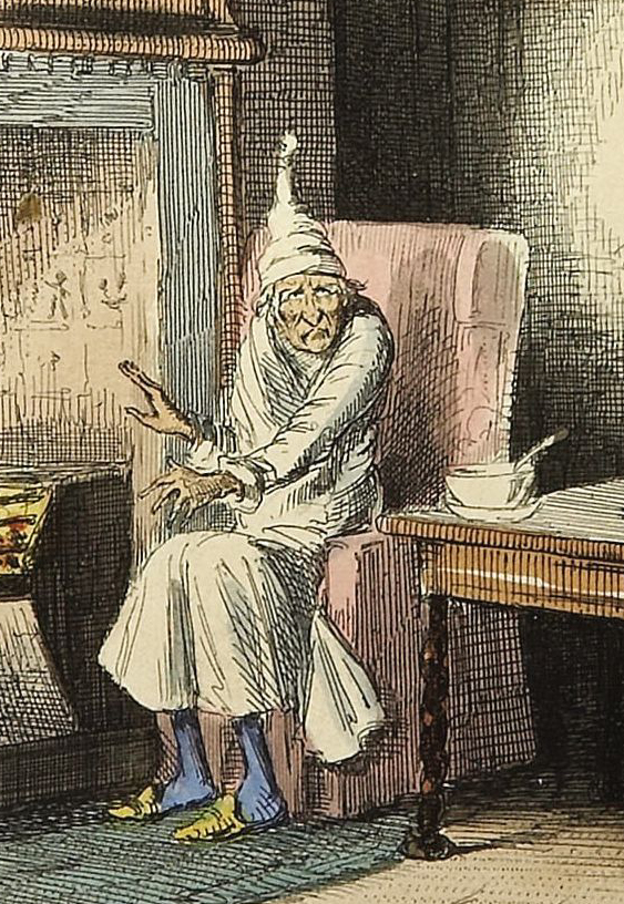Marley's ghost, from Charles Dickens: A Christmas Carol, published in 1843. Illustration by John Leech. From Wikimedia.