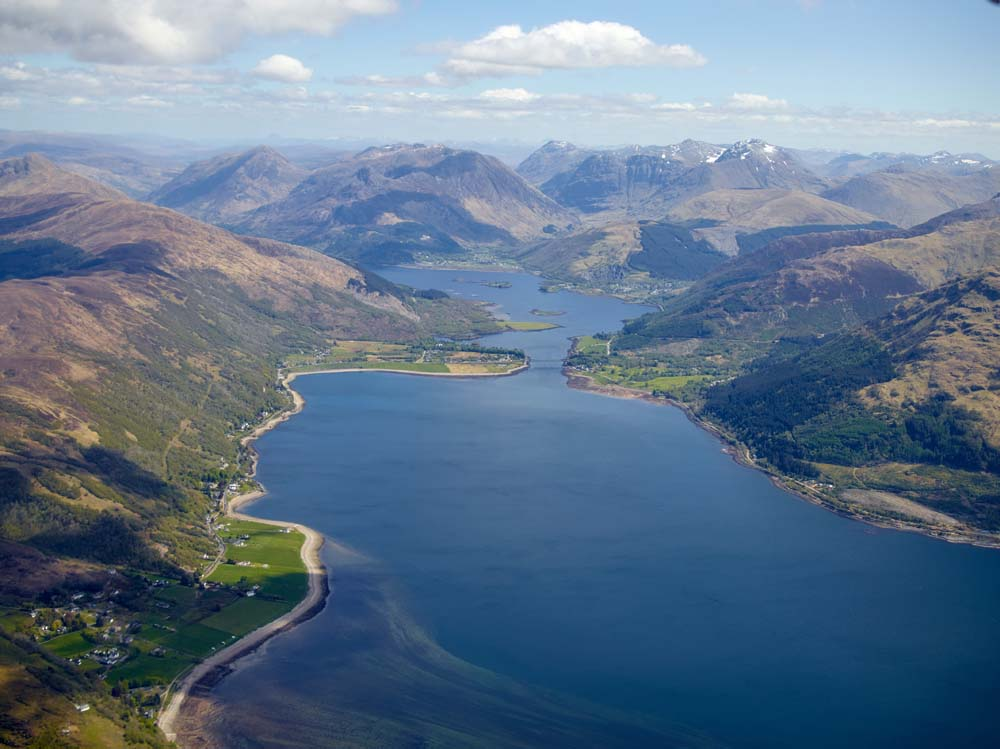Looking up Glencoe with Ballachulish bridge