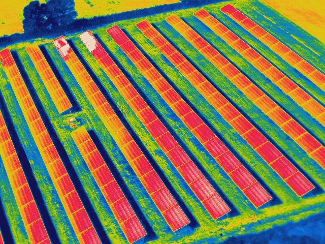 Thermal Image of UK Solar Farm