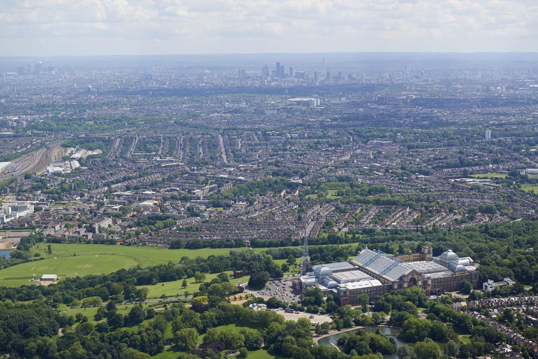 Alexandra Palace with the London skyline behind