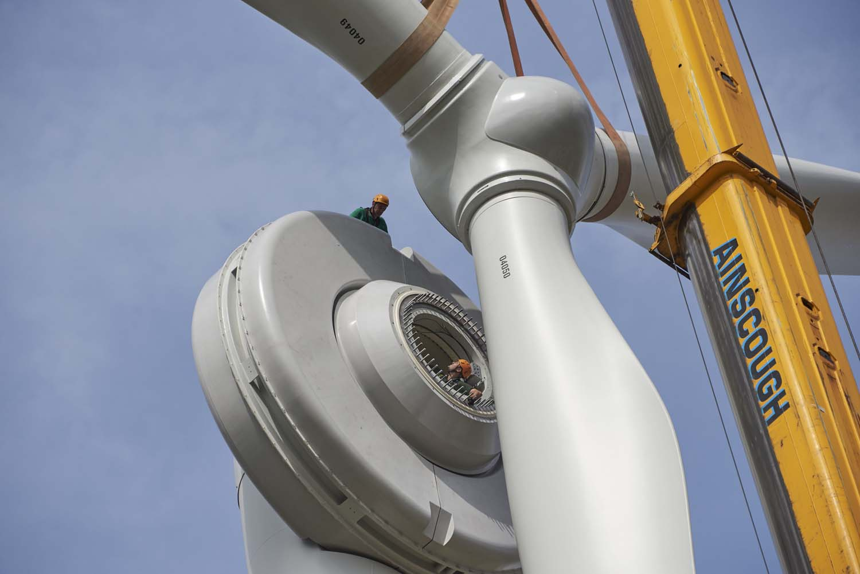 Turbine erection Chesterfield for Peter Duffy Ltd