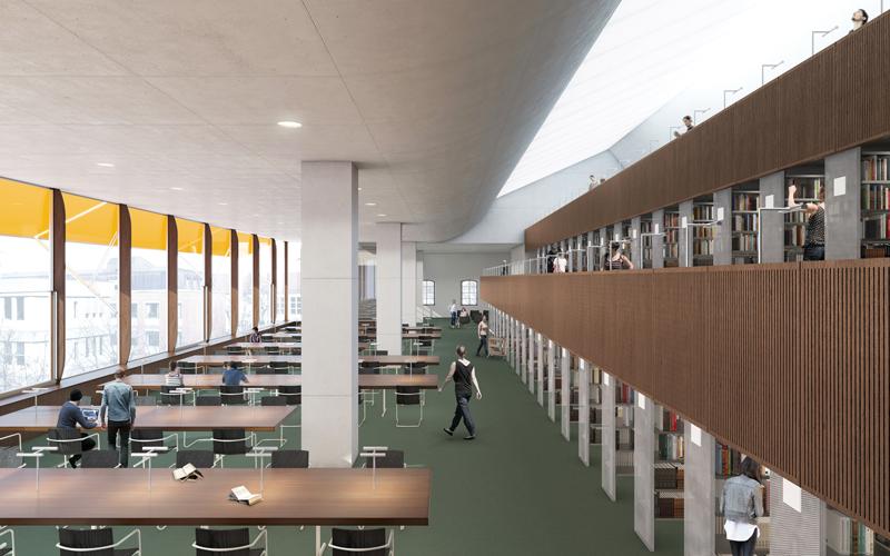 Im Spannungsverhältnis zwischen der monumentalen klassizistischen Bebauung der Ludwigstraße im Osten und offenen Hofbebauung aus den 1960er Jahren im Westen soll eine Bibliothek entstehen, die ihren spezifischen Charakter aus dem Geist des Ortes bezieht und diesen mit neuen Qualitäten bereichert.  >>>>