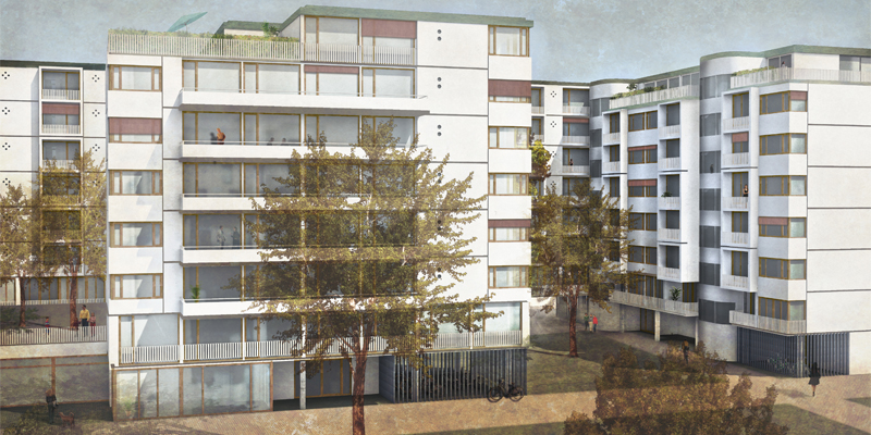 Unmittelbar angrenzend an die Feuerwache Leopoldstadt, bildet das Grundstück den städtebaulichen Schlussstein des neu entstandenen Wohnbauensembles.  >>>>