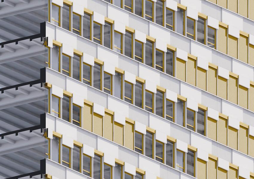 """Das ehemalige """"Haus der Statistik"""" der DDR an der berliner Karl-Marx-Allee steht seit Jahren leer. Eine neue Gebäudehülle soll seine Wiederbelebung mit neuen Nutzungen ermöglichen.  >>>>"""