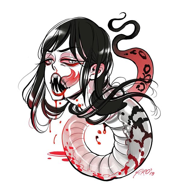 Flash Disponible ⚡️ Available Flash Contact me for booking or consultation through @mtltattoo . . . #mtlblog #mtltattoo #nomorepros #bodyhorror #animetattoo #yokai #snakewoman #snake #montrealtattoo #tattooflash