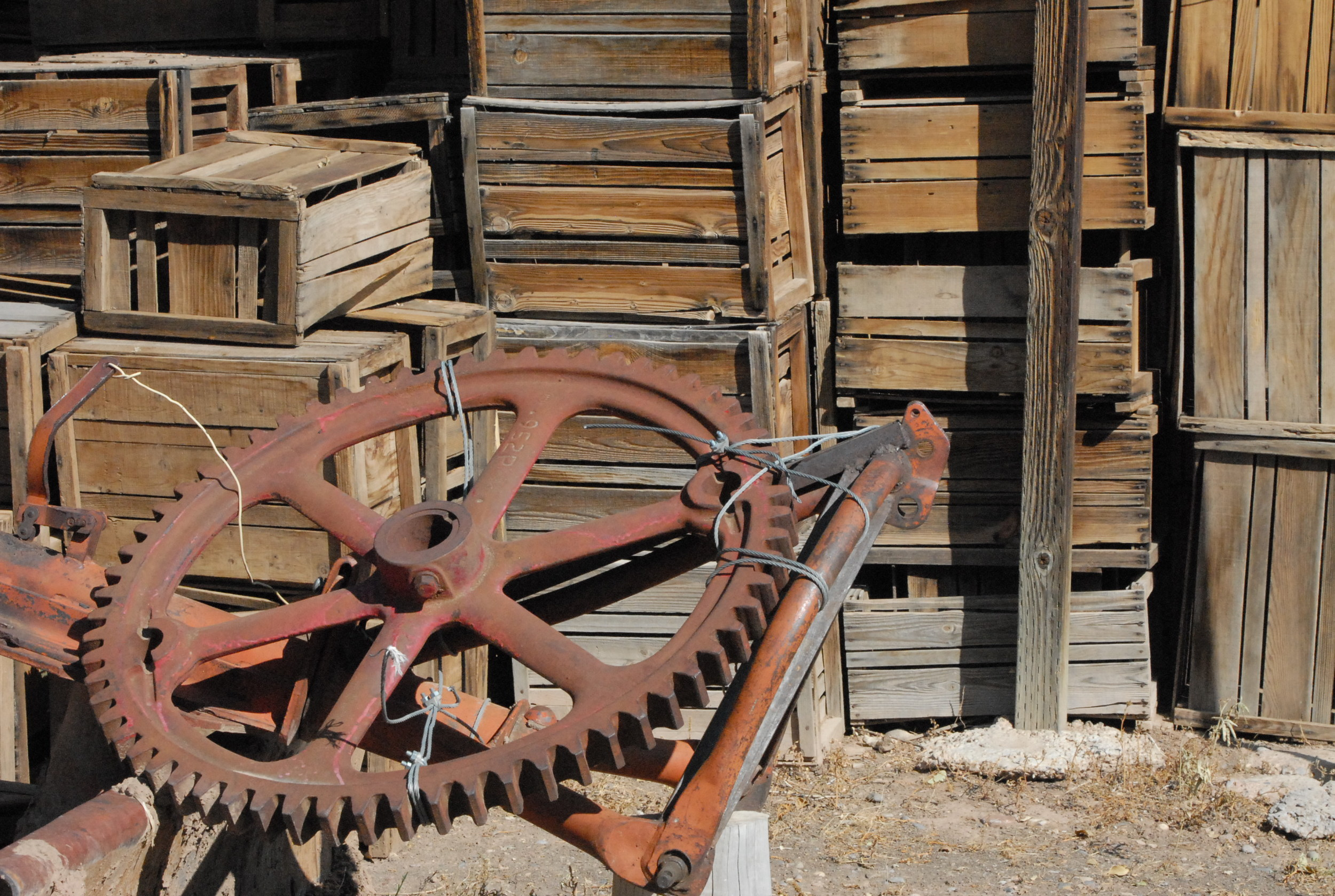 Old apple crates and machinery
