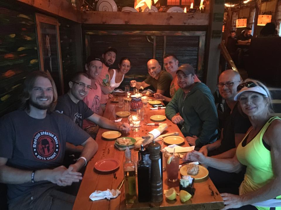 Our Florida group finally meeting up and enjoying a nice pre-race carb load.