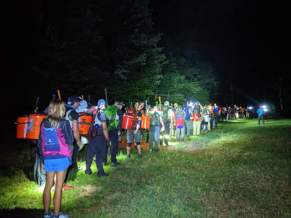 Lined up with our new partners and eggs, ready to venture into the woods for the first night of the Death Race!