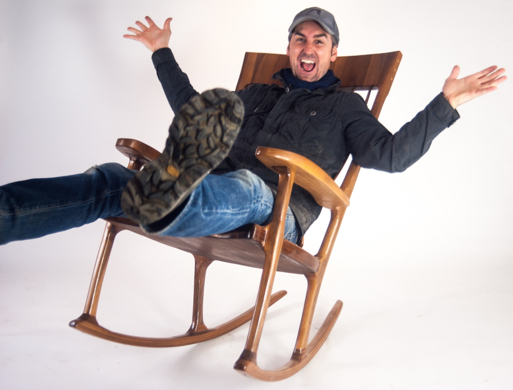 Mike Wolfe (Antique Archaeology) being a great sport and testing out the rocking chair we have for sale in our shop