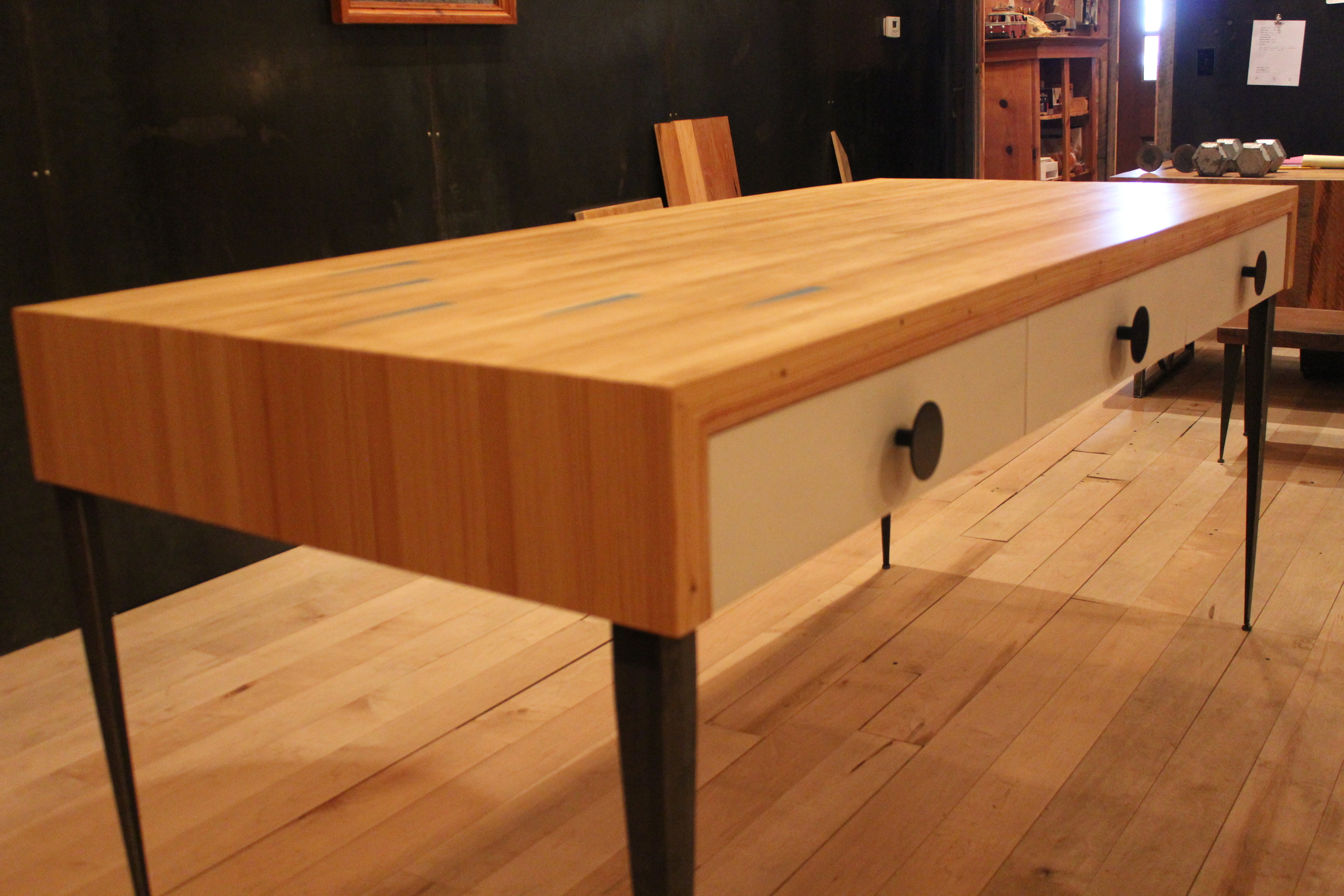 Reclaimed Bowling Alley Utility Table