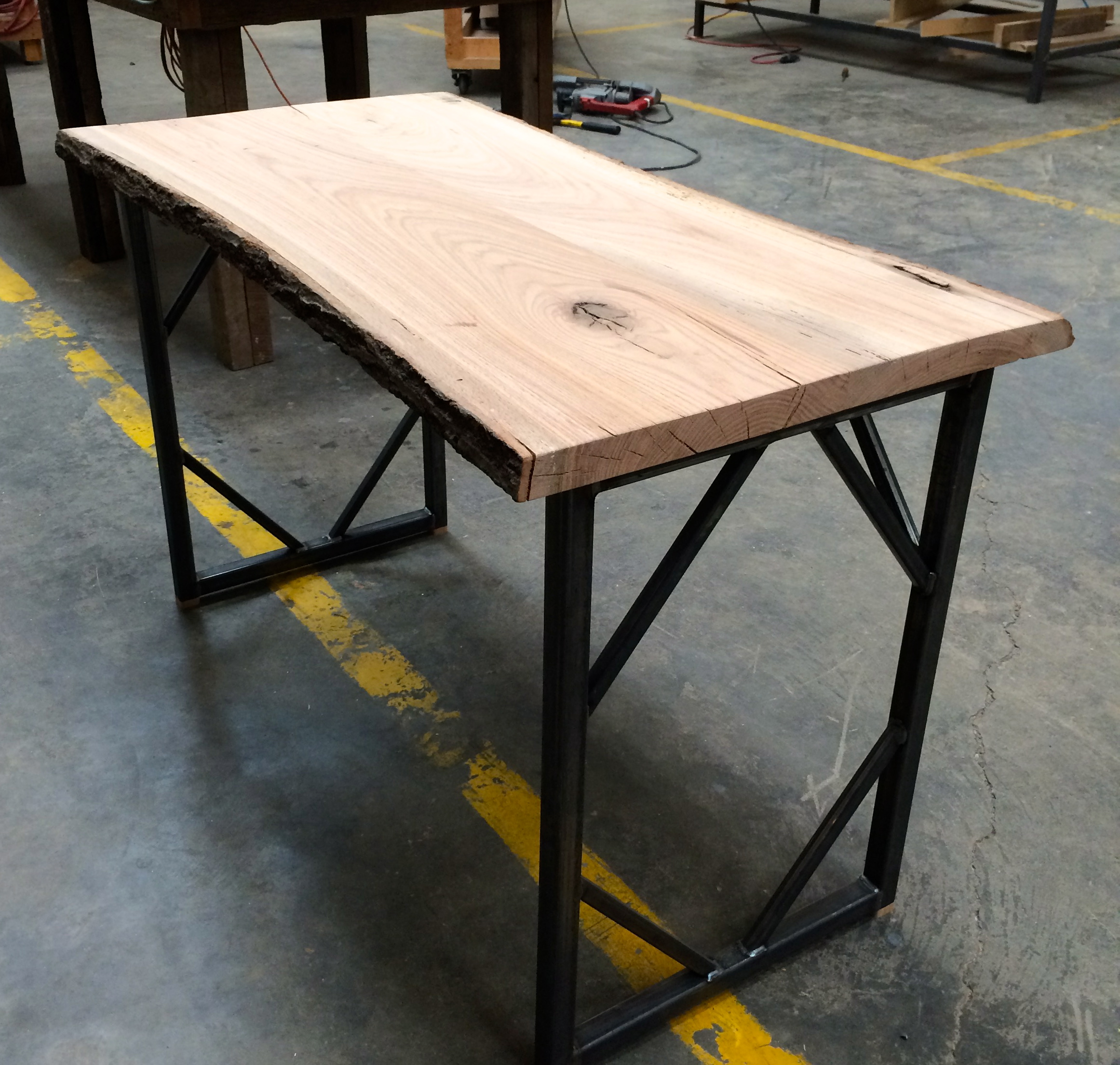 Live Edge Square Tube Table