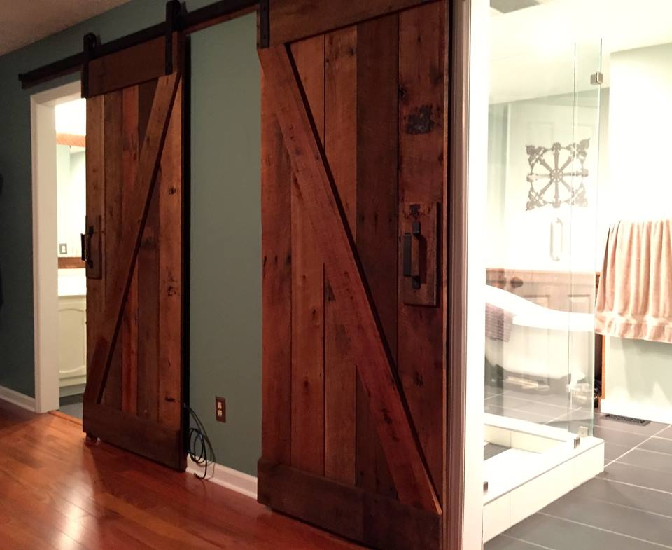 Slider doors built by a customer using our wood.