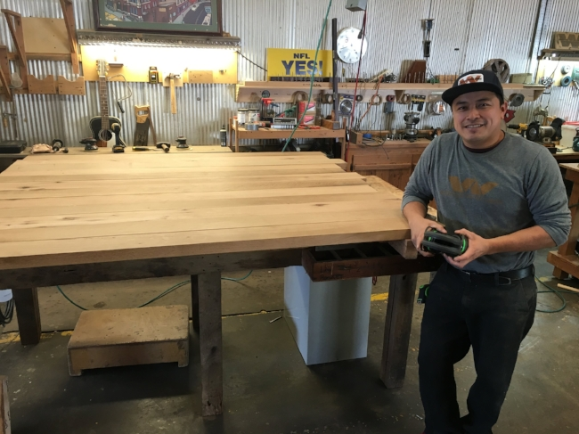 Cande, working on a mixed oak countertop in our Nashville, Tenn. shop.