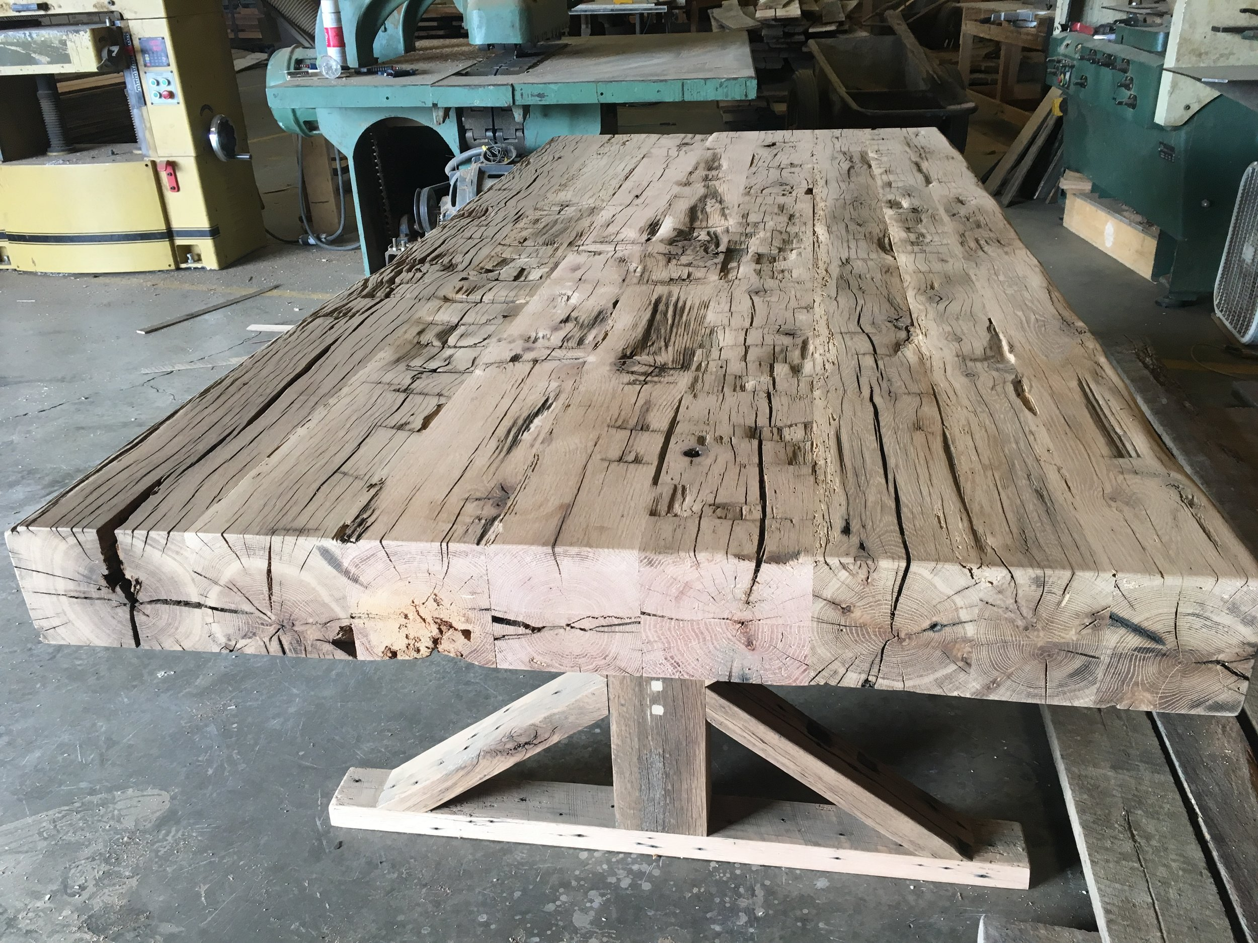 Solid Oak Beams Farm Table